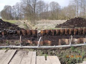 Verlegung ein Erdgasleitung unterhalb eines Grabens (Düker)